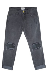 Current Elliott Leather Patched Jeans Grey