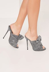 Missguided Silver Knotted Front Mule Heeled Sandals Pewter