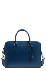 Burberry Men's 'New London' Calfskin Leather Briefcase Blue Mineral Blue