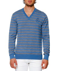 Dolce And Gabbana Striped Virgin Wool V Neck Sweater Blue Gray Blue Gray