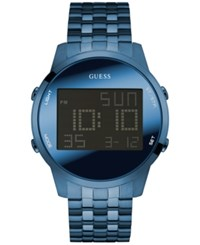 Guess Men's Digital Chronograph Blue Ion Plated Stainless Steel Bracelet Watch 46Mm U0786g3
