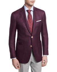 Canali Sienna Check Contemporary Two Button Sport Coat Red Navy Men's