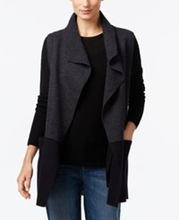 Eileen Fisher Draped Wool Vest Charcoal Black