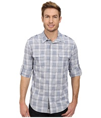 Dkny Long Sleeve Roll Tab Neppy Plaid Shirt Casual Wash Blue Men's Long Sleeve Pullover