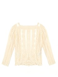 Red Valentino Macrame Cotton Lace Top Ivory