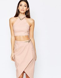 Rare London High Neck Crop Top With Chain Detail Pink