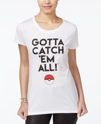 Hybrid Juniors' Pokemon Catch 'Em All Graphic T Shirt White