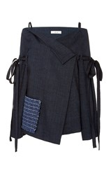 Adeam Off The Shoulder Linen Jacket Navy
