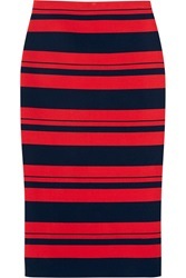 Dkny Striped Stretch Cotton Blend Midi Skirt Red