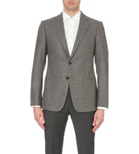 Armani Collezioni Check Print Wool And Cashmere Blend Jacket Blue Brown