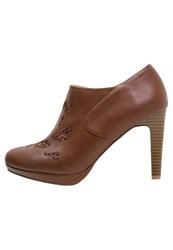 Anna Field High Heeled Ankle Boots Cognac Brown