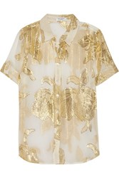 Equipment Metallic Embroidered Silk Blend Crepe Top Off White