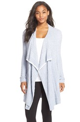 Women's Barefoot Dreams Cable Knit Drape Front Cardigan Periwinkle Pearl