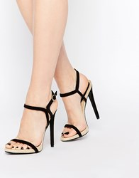 Daisy Street Barely There Two Part Heeled Sandals Black