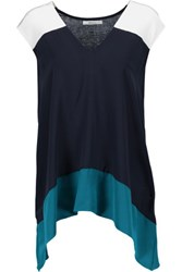 Bailey 44 To The Max Color Block Silk And Stretch Jersey Top Navy