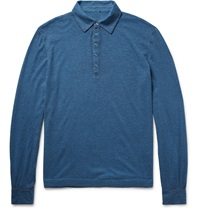 Massimo Alba Ischia Knitted Cotton And Cashmere Blend Polo Shirt Blue