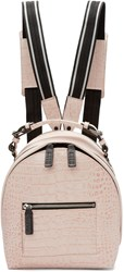 Msgm Pink Croc Embossed Small Backpack