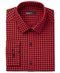 Bar Iii Men's Interchangeable Collar Fitted Red Gingham Dress Shirt Only At Macy's