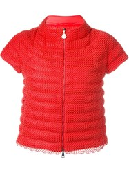 Moncler Embroidered Puffer Jacket Yellow And Orange