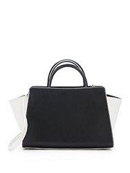 Zac Posen Eartha Two Tone Leather Satchel Black