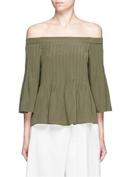 Tibi Pintucked Off Shoulder Silk Top Green