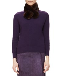 Carolina Herrera Ribbed Cashmere Sweater W Removable Fur Collar Currant Size Xl Current