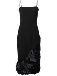 Christian Siriano Applique Hem Strappy Dress Black