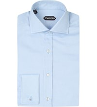 Tom Ford Regular Fit Double Cuff Cotton Twill Shirt Blue