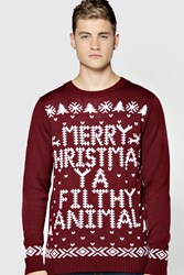 Boohoo Christmas Ya Filthy Animal Jumper Wine