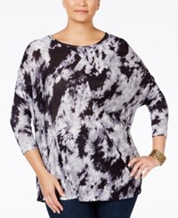 Ny Collection Plus Size Tie Dyed Dolman Sleeve Top Noir Toxic