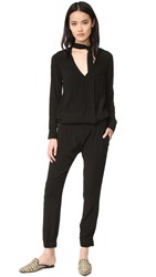 Monrow Tie Front Long Sleeve Jumpsuit Black