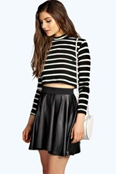Boohoo Leather Look Coated Skater Skirt Black