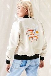 Urban Renewal Recycled Embroidered Satin Bomber Jacket Neutral