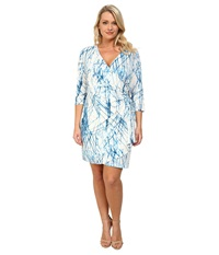 Calvin Klein Plus Plus Size Print Wrap Dress Twilight Cream Women's Dress Blue