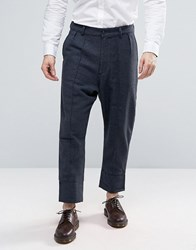 Asos Drop Crotch Cropped Herringbone Trousers With Heavy Turn Up Blue