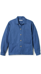 Brooklyn Tailors Washed Poplin Overshirt Sea Blue
