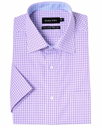 Double Two Check Classic Fit Classic Collar Formal Shirt Purple