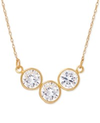 Macy's Cubic Zirconia Trio Collar Necklace In 14K Gold Yellow Gold