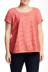 Halo Lace Front Tee Plus Size Pink