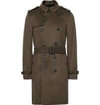 Burberry Cashmere Trench Coat Army Green