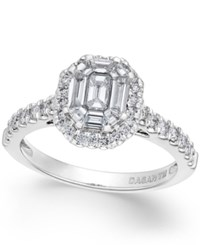 Macy's Diamond Cluster Engagement Ring 1 Ct. T.W. In 14K White Gold