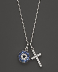Bloomingdale's Diamond And Sapphire Evil Eye And Cross Pendant In 14K White Gold 18 No Color