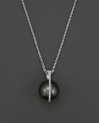 Tara Pearls Tahitian Cultured Pearl And Diamond Pendant Necklace In 18K White Gold 15 Black White