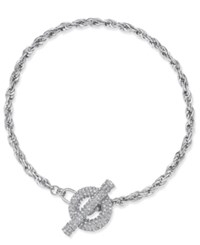 Inc International Concepts Crystal Toggle Chain Necklace Only At Macy's Silver