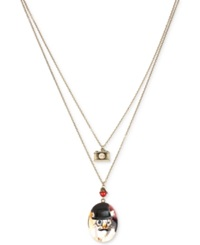 Betsey Johnson Gold Tone Two Layer Cat Locket And Camera Pendant Necklace