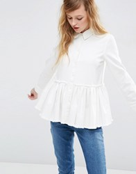 Asos Denim Drop Waist Pleated Shirt In White With Raw Hem White