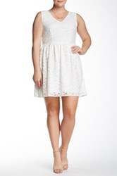 Bb Dakota Posey Lace Fit And Flare Dress Plus Size White