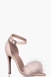 Boohoo Two Part Feather Trim Sandal Nude