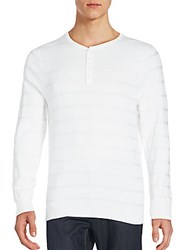Vince Camuto Striped Long Sleeve Henley White