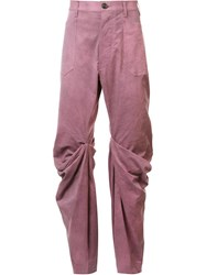 Andreas Kronthaler For Vivienne Westwood Boot Draped Knee Jeans Pink Purple